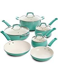 Leucadia 10pc Non-Stick Cookware Set , Turquoise