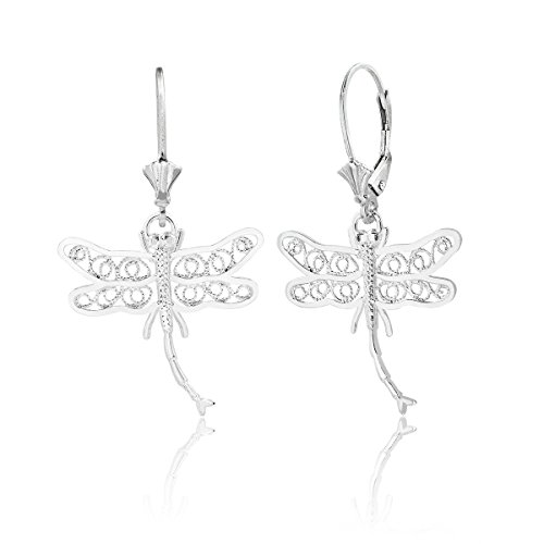 Sterling Silver Dragonfly with D/C Filigree Wings Leverback Earrings ()
