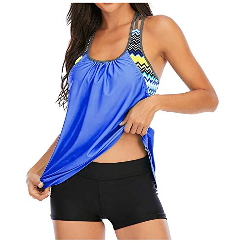 Ladies Casual Swimsuits, Fashion Casual and Comfortable Printing Stitching Split Swimsuit Bikini Swimwear(Blue_14,S