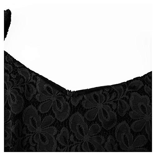 Slim Pizzo nero Donna Coctel Elegante Vestito B Miusol Fit Corta qEwYg5x