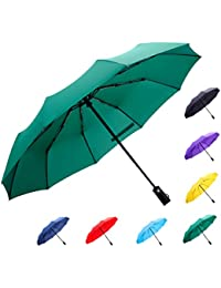Large Automatic Windproof Umbrella-10 Ribs Compact Folding Travel Golf Umbrella with Teflon Coating