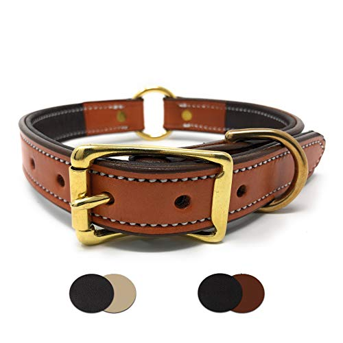 - Padded Tan Leather Dog Collar with Genuine Leather and Soft Buffalo Skin Padding | for Small, Medium, and Large Dogs