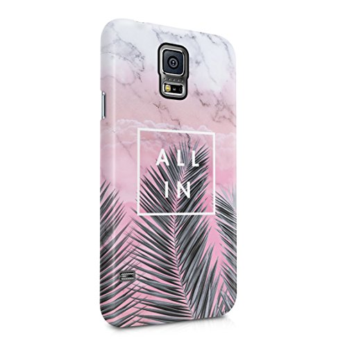 All In Tropical Palm Tree Vacation In Paradise Candy Pink Marble Plastic Phone Snap On Back Case Cover Shell For Samsung Galaxy S5