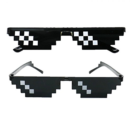 HUELE 2pcs Thug Life Sunglasses Pixelated Mosaic Glasses Party Glasses by HUELE