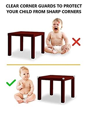 Corner Guards for Child Safety by SaTa Living - Clear Bumper Protectors for Baby Proofing Against Sharp Furniture Edges - Pre-Applied 3M Strong Adhesive (12 Pack)
