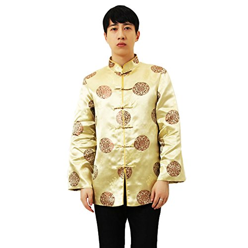 Traditional Mens Suit Coat (EXCELLANYARD Classic Chinese Tang Suit Jackets for Men Gold L)