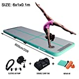 Air Track Gymnastics Tumbling Mat Inflatable Floor Mats with Electric Air Pump for Home Use/Tumble/Gym/Training/Cheerleading/Parkour/Beach/Park/Water 3.3/10/13.12/16.4/20/23-39ft (Mint Green, 20) ...