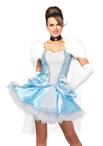 Adults Cinderella Costumes (Leg Avenue Women's 4 Piece Slipper-Less Sweetie Princess Costume, Blue/White, Medium)