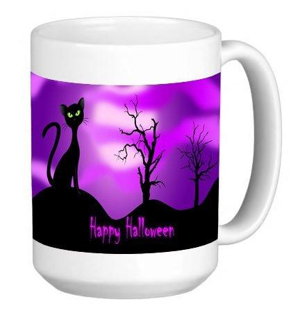 Say Happy Halloween Fun Cat Picture 15 ounce Ceramic Coffee Mug Tea (15 Ounce Photo Mug)