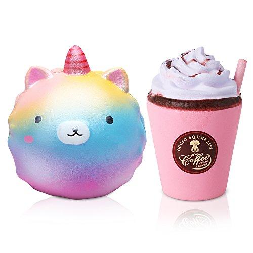 Silly Ball (Jumbo Squishies Super Slow Rising Rainbow Unicorn Cat Ball & Latte Kawaii Rare Silly, 2 Pack)
