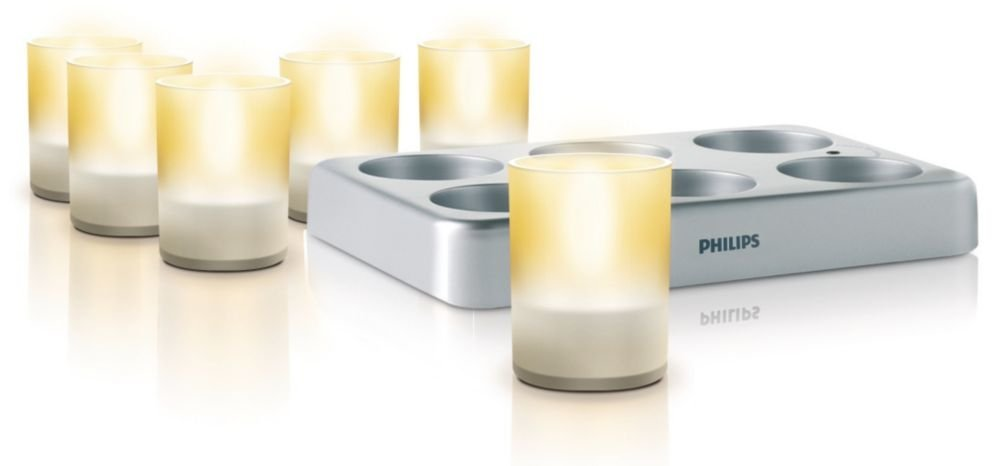 Philips 69126/60/48 Imageo LED Rechargeable Tea Lights with Charging Plate, Clear by Philips