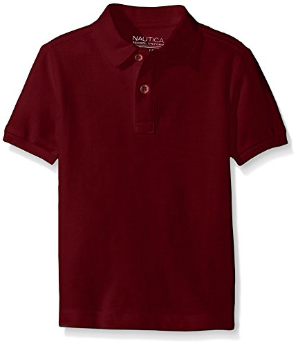 Nautica Little Boys' Uniform Short Sleeve Pique Polo, Burgundy, X-Large/7X