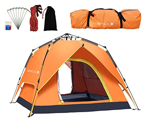 BOCCA Automatic 1 2 3 4 Person Instant Pop up Family Camping Tent Quick up Dome Tent Portable Backpacking Waterproof…