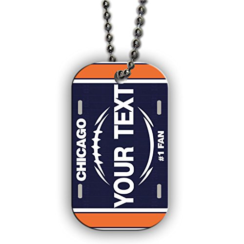 BleuReign(TM) Personalized Custom Name Football Chicago License Plate Single Sided Metal Military ID Dog Tag with Beaded Chain