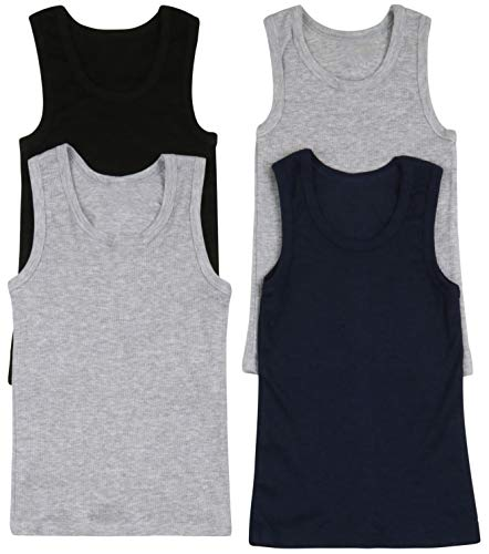 ToBeInStyle Boys' 4 Pack Double Hem Tank Tops - Ribbed Basic - Size 10