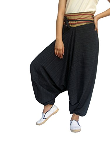 ChiangmaiThaiShop Cotton Baggy Boho unisex Aladin Yoga Harem Pants (Black, Medium)