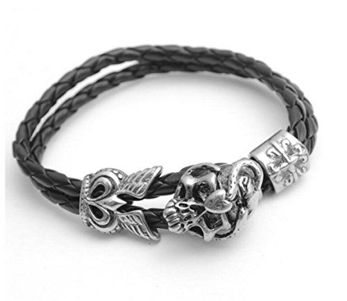 Annie Costume Uk (Fariishta Jewelry Fashion Retro Skull Hand Braided Leather Wrap Bracelet£¨3#£)