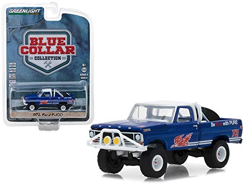 StarSun Depot 1972 Ford F-100 Pickup Truck Pure Oil Co. Firebird Racing Gasoline Blue Collar Collection Series 4 1/64 Diecast Model Car Greenlight