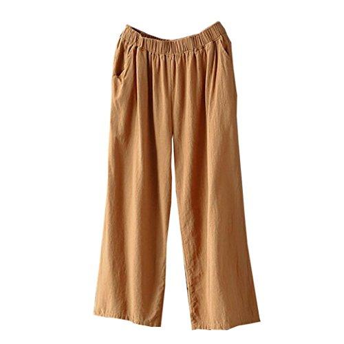 Pajama Trousers (Women's Palazzo Pants,High Waist Wide Leg Culottes Cotton Linen Loose Trousers by-NEWONESUN)