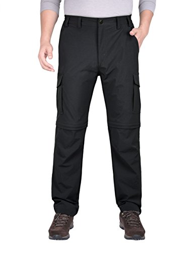 "Nonwe Mens Casual Quick Dry Convertible Cargo Pants Black XL 32"" -  JF701330XL-32"