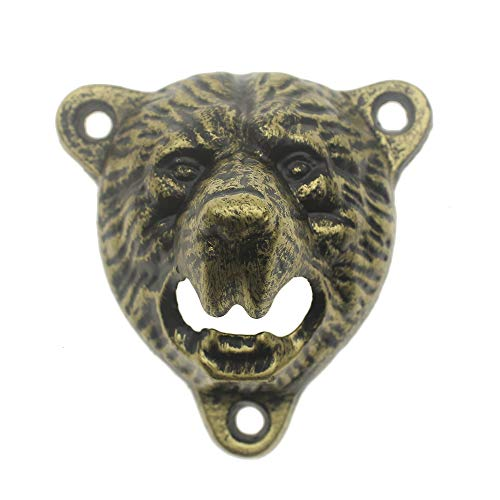 Cast Iron Wall Mount Grizzly Bear Teeth Bite Bottle Opener and Beer Cap Catcher (antique bronze)