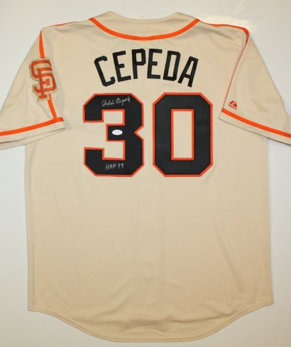 Orlando Cepeda HOF Autographed Tan San Francisco Giants Jersey- JSA Auth