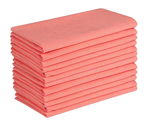 Cotton Clinic 12 Pack Cloth Dinner Napkins 17x17, 100% Cotton Fabric Soft and Comfortable Cocktail Napkins, Wedding Dinner Napkins with Mitered Corners and Generous Hem - Coral Orange (Coral Napkins Polyester)