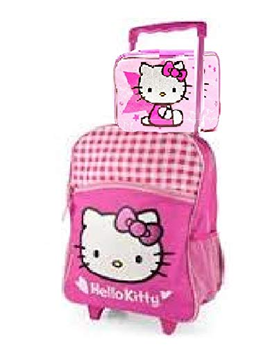 Hello Kitty Glitter White and Pink Checker Rolling Backpack & Lunch Box Style 6676 -