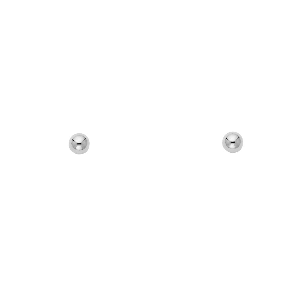 14k White Gold Ball Stud Earrings with Screw Back 5 Different Size Available
