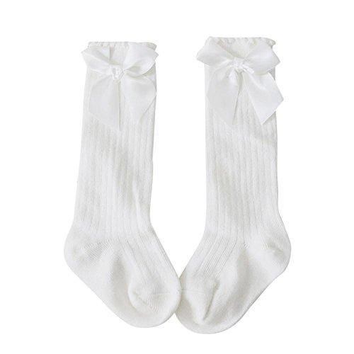 Kids Girls Socks, Sacow Toddlers Anti-slip socks Big Bow Knee High Long Soft Cotton Lace Socks (White, (Bow Knee Sock)