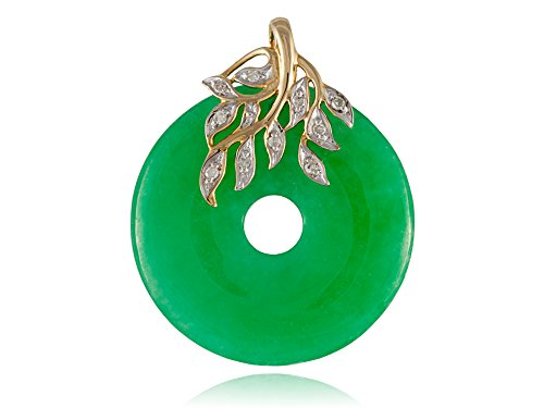 Green Jade Leafy Disc Pendant with Diamonds, 14k Gold
