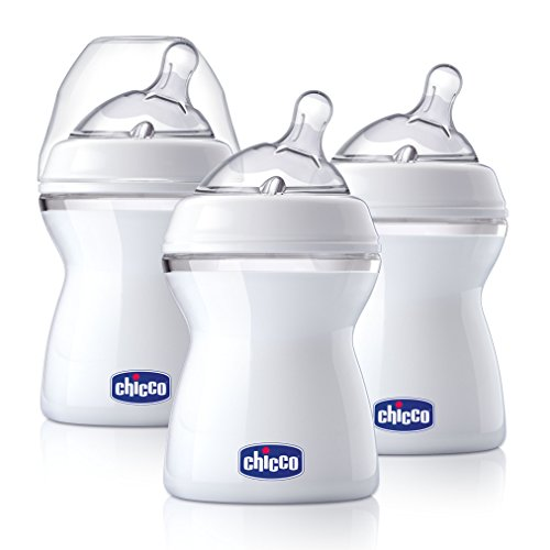 Chicco NaturalFit 3 Pack Baby Bottles Slow Flow with Bonus Straight Nipple, 0 Months +, 8 Ounce Chicco Bottle