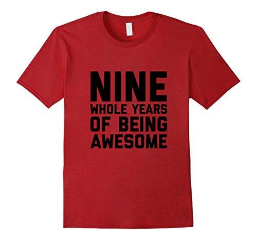 Mens 9th Birthday Shirt Gift Age 9 Nine Year Old Boy Girl Tshirt Small Cranberry