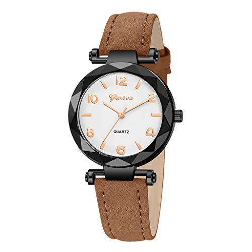 Londony✡Women's Watches Leather Rhinestone Inlaid Quartz Jelly Wristwatch Geneva Chronograph Watch with Crystals Link (Geneva Bands Watch)