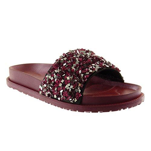 Angkorly Damen Schuhe Mule Sandalen - Slip-on - Step - Plateauschuhe - Strass - Glänzende Keilabsatz High Heel 4.5 cm Fushia