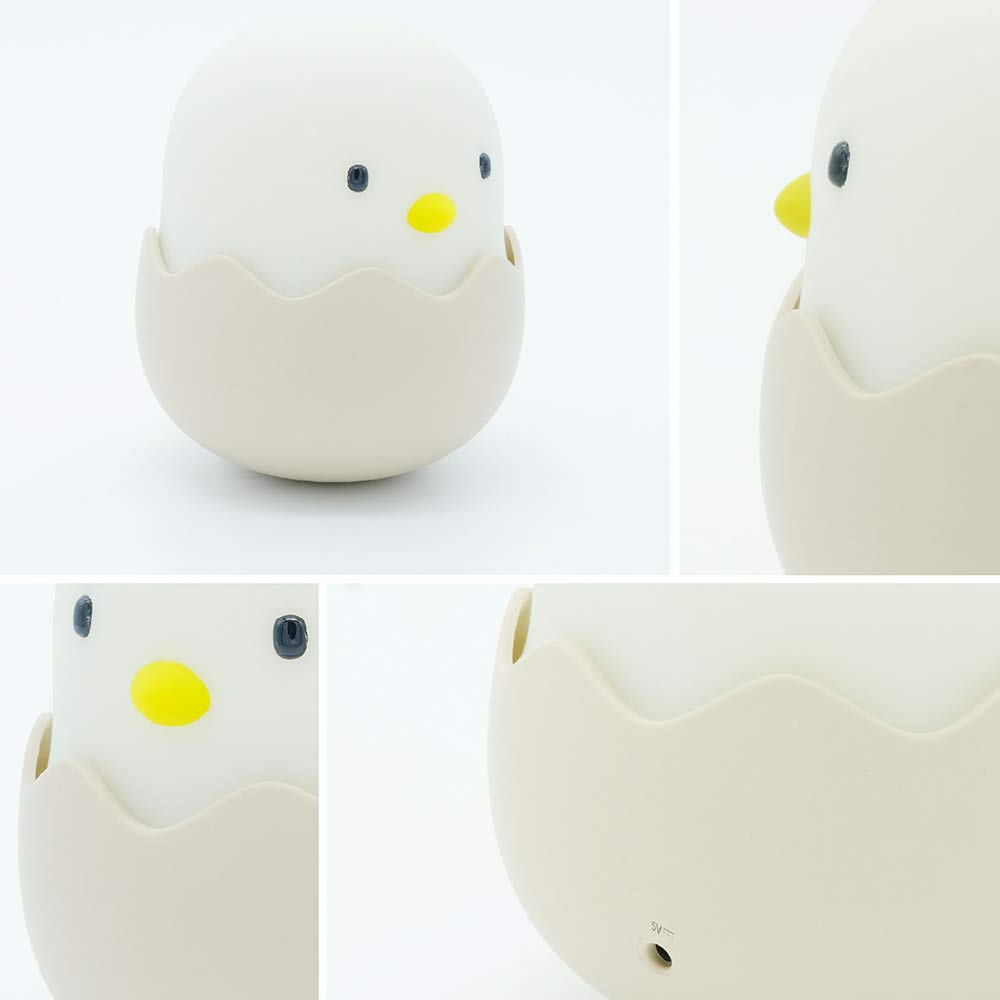 AZALCO Cute Silicon Tumbler Egg Shell Chick Night lamp Tap Control Lamp for ady Kid Baby Bedroom and Nursery Room