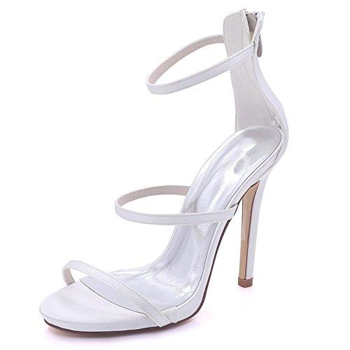 L@YC Sandalias de La Boda de La Dama de Honor del Alto-Tacón Peep de Las Mujeres Prom 3-8 Court Shoes 7216-05 White