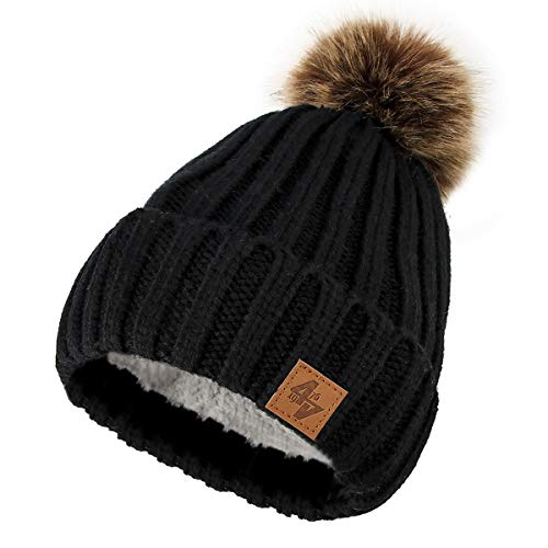 Lady al 4sold For mayor One punto Men C Pursed Forro Winter Size Beanie Circle Color y Pompom Woman de polar por Beanies Gold rr54YPq