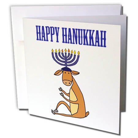 3dRose All Smiles Art Christmas - Funny Reindeer with Menorah Candles Antlers Happy Hanukkah - 1 Greeting Card with Envelope (gc_263924_5) (Art Menorah)