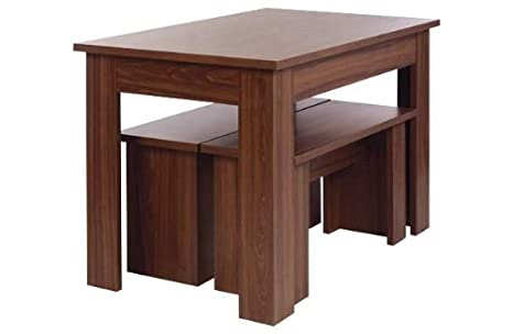 Swell Warsaw Walnut Melamine Dining Table And 2 Benches Amazon Co Caraccident5 Cool Chair Designs And Ideas Caraccident5Info