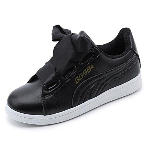 Zapatillas de deporte de la PU de las mujeres que ejecutan los zapatos casuales Comodidad plana Cinta Zapatos deportivos Negro Blanco GAOLIXIA Black