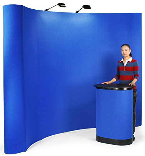 Displays2go 10-Feet Tradeshow Booth Caved Wall - Royal Blue Velcro Receptive Fabric (TEPUVF10BL) by Displays2go
