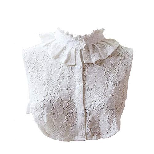 Bluefun Womens Half Shirt Lace Stand Collar Vintage Fake Shirt Collar, White
