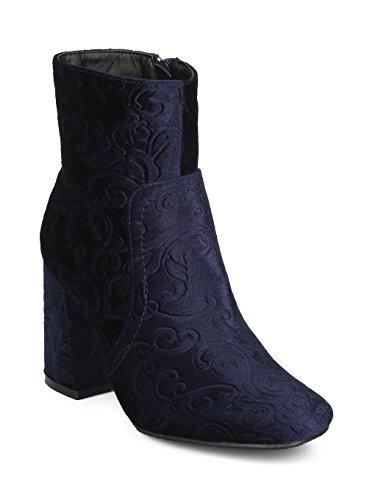 Alrisco Women Embossed Velvet Block Heel Bootie HE77 - Navy Velvet (Size: 8.5)