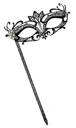 Success Creations Orleans Laser-Cut Metal Black Venetian Women's Masquerade Mask on a Stick -