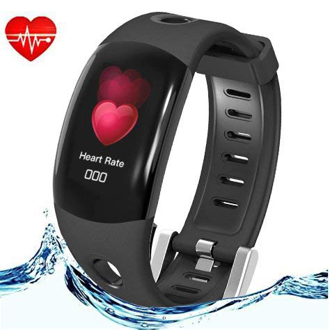 DOMIRATIC Fitness Tracker Activity Tracker with Heart Rate Monitor Waterproof Smart Wristband Pedometer (Black)
