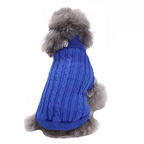 CHBORCHICEN Small Dog Sweater Pet Dog Knitted Sweater Winter Warm Puppy Clothes Classic Doggie Sweatershirt (X-Small,Dark Blue)