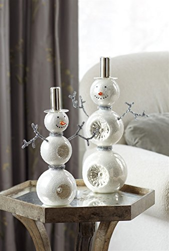 Snowman Table Top Center Piece (Set of 2) (Ornament Glass Snowman Mercury)