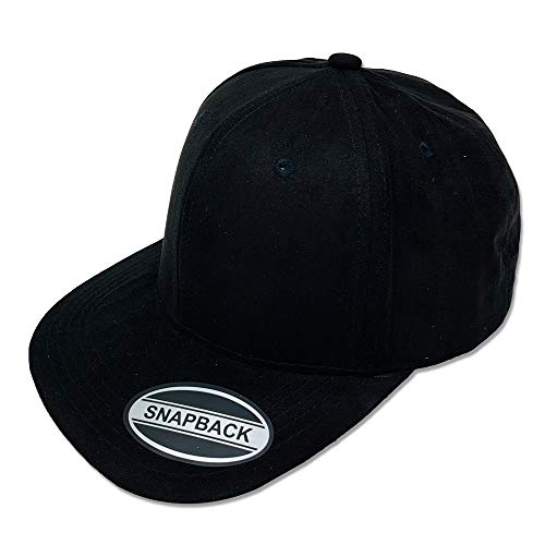 (DANKONG Soft Suede Baseball Snapback Hat Classic 6 Panels Flat Bill Visor Faux Cap Headwear with Breathable Fine Suede Made for Any Occasion with Any Clothes - Solid Black )