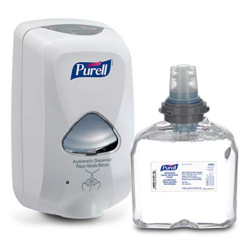 Purell Sanitizer Wall Mount - PURELL Advanced Hand Sanitizer Foam TFX Starter Kit, 1-1200 mL Hand Sanitizer Refill + 1- PURELL TFX Dove Grey Touch-Free Dispenser - 5392-D1